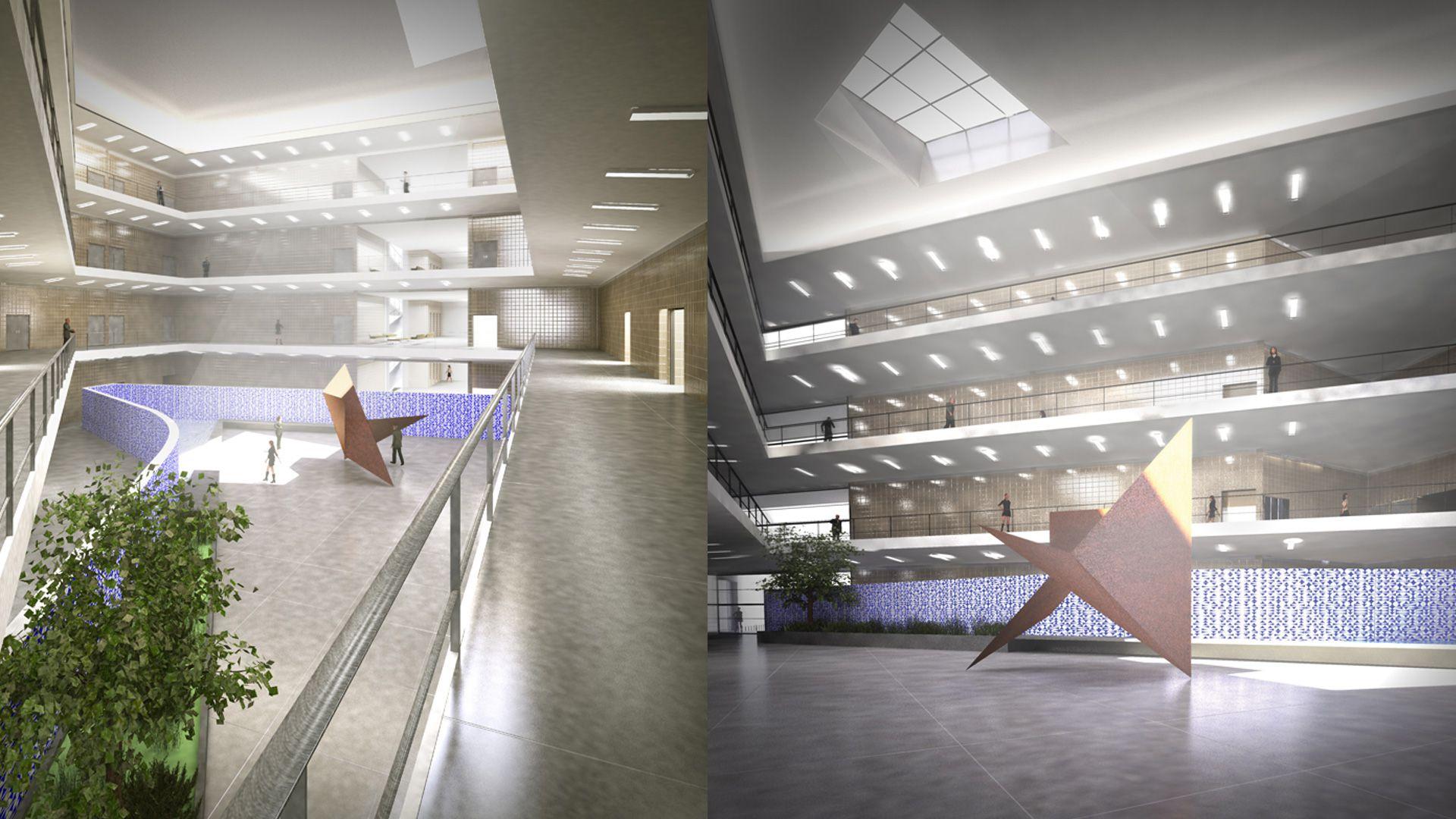 07a-07b-forum-render-vista-praca-interna-e-vista-interna-corredor